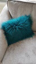 Brand Faux Mongolian Fur Emerald Green turquoise Rectangle Cushion