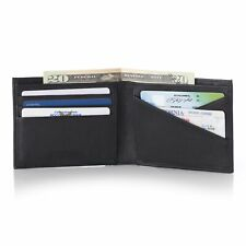 Alpine Swiss Double Diamond Mens RFID Leather Bifold Wallet Divided Bill Section