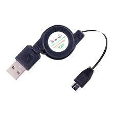 Micro USB zu 2.0 Stecker Daten Kabel aufrollbar Schwarz Adpter Länge 50 cm