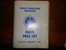 OEM Yamaha 1971 Parts Price List 322 Pg
