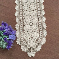 "Vintage Crochet Table Runner Dresser Scarf Oval Ecru Lace Doily 15""x78"" Wedding"