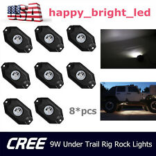 8pcs 9W White LED Rock Light JEEP Offroad Truck Under Body Trail Rig Light Lamp