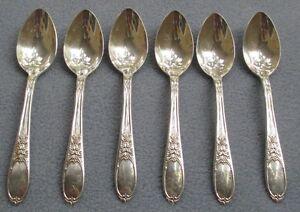 SIX International Silver Silverplate Champaigne Burgundy Demitasse Teaspoons