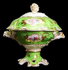 EARLY DERBY PORCELAIN GREEN HANDPAINTED SAUCE TUREEN ROSE FINIAL