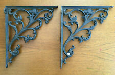 Antique Vintage Pair Cast Iron Shelf Brackets Hardware