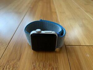 Apple Watch Series 3 38 mm Silver Aluminum Case Blue Sport Loop Smartwatch