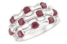 Damen Ring 925 Sterling Silber Halb/Memory Rubin Synth. Größe 53-54