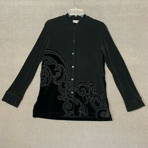 Chicos Travelers Top Size 0 Small S Black Button Up Rayon Velvet Long Sleeve