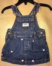 OshKosh B'gosh Vestbak Overall Denim Dress Girls Sz 9M Embroidered Hearts