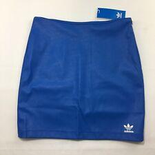 Adidas Faux Leather Retro Skirt Womens Size S Royal Blue White