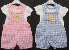 Baby Girl's Disney WINNIE THE POOH Dungaree Shorts & T-Shirt Set 0-24 Months
