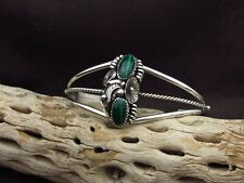 Sterling Silver Two Stone Malachite Cuff Bracelet