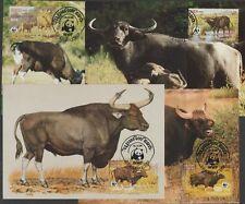 v1870 Kambodscha/ WWF 1986 Wildrinder  MiNr 823/26 auf 4 MaxiCard