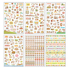 6Pcs Kawaii Cartoon Cat Paper Sticker For Scrapbooking Diary Decor Cute Craft