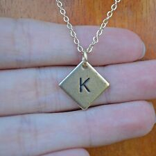 "Personalized Small Dainty Initial ""K"" Diamond Square Layering Necklace"