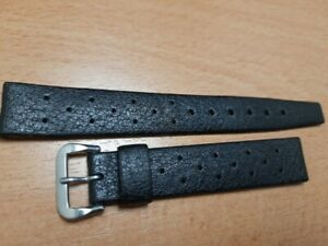AUTHENTIC 60'S NOS TROPIC 16MM SWISS PERFORATED BLACK RUBBER BAND STRAP    #7299