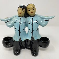 VINTAGE MID CENTURY 1950s ASIAN CERAMIC FIGURINES CARRYING WATER BUCKETS