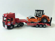 1/50 Die-Cast Model Low Loader With Road Roller Compactor Construction vehicles