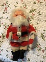 "Rubber Face Santa Claus Doll Christmas Vintage Plush 13"" large doll black boots"