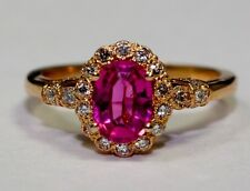 14k Rose Gold Oval Pink Tourmaline And White Round Diamond Ring Size 6.25