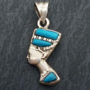 23mm Sterling Silver Egyptian Nefertiti Bust Pendant & Lapis Lazuli & Turquoise