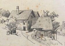 Hübsche Zeichnung Bauernhaus monogrammiert Daniel Staschus