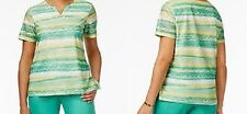 Alfred Dunner shirt size Extra Large XL   Green, White striped abstract print