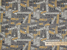 Come Sit a Spell Graveyard Gray Words Halloween Fabric by the 1/2 Yard  #84397