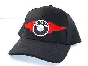 Red BMW Wing Hat baseball cap vintage motorcycle patch black black ballcap