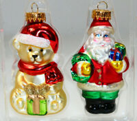 """Santa Claus and Teddy Bear Glass Christmas Ornament 3.5"""" Tall"""