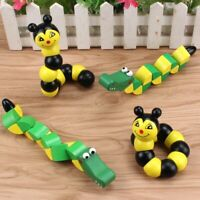 Educational Wooden Toys Kids Cute Puzzle Baby Fingers Flexible Twisting Worm Toy