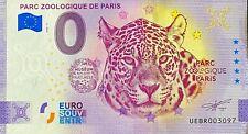 BILLET 0  EURO PARC ZOO PARIS FRANCE  ANNIVERSARY ERREUR D'IMPRESSION  N° 3097