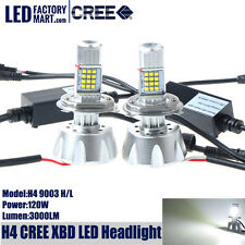 Car H4 LED Headlight High Low Beam 120W 3000LM 6000K White CREE XBD Lights