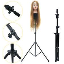 Metal Tripod Adjustable Mannequin Head Holder Hairdressing Training Stand Black