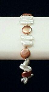 Artisan Bracelet Copper Coin & Stick Pearls 925 Silver Adjustable Handmade USA