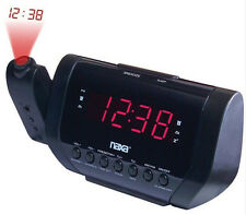 Naxa AM FM Dual Alarm Time Wall Ceiling Projection Clock Radio Presets in Black