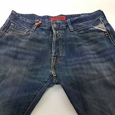 Replay M955 Mens Jeans W34 L32 Blue Regular Fit Straight Mid Rise