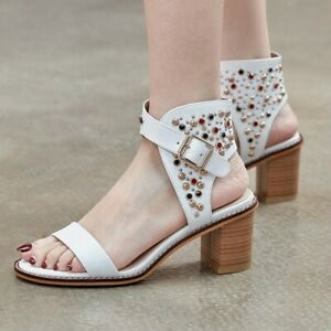 Womens New Fashion Leather Studs Ankle Strap Block Heel Beach Sandals Shoes J10