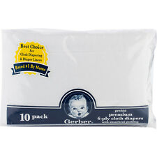 Gerber 10PK Cloth Diaper White Gauze Prefold Premium 6-ply w/ Absorbent Padding