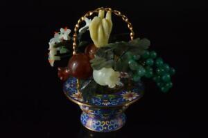 P3681: Japanese Stone jade/jewels Cloisonne-ware ORNAMENTS object art work