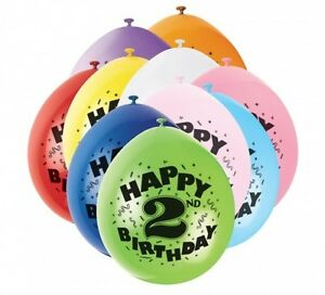 2nd HAPPY BIRTHDAY BALLOONS pack of 10 - AGE 2 CHILDREN'S PARTY - BOY or GIRL