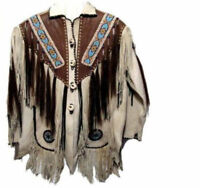 Men White & Brown Cowboy Suede Leather Western Wear Jacket Fringes Beads