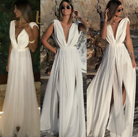 2019 Women Sleeveless V Neck Chiffon Party Cocktail Prom Dress Beach Summer Maxi