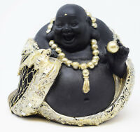 Black Gold Happy Fat Laughing Sitting Buddha Figurine Statue Ornament Home Gift