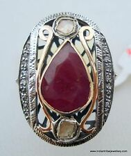 Victorian Diamond Ruby 14k Gold Silver Ring Cocktail