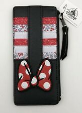 Disney Parks Minnie Mouse Dot Bow Stack Cardholder ID Card Zipper Slim Wallet