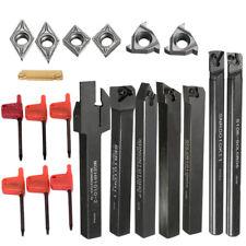 7Pcs 10mm Lathe Turning Tool Holder Boring Bar + DCMT CCMT Carbide Insert + T8