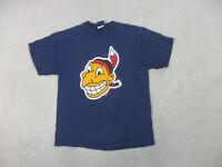VINTAGE Cleveland Indians Shirt Adult Large Blue Baseball Chief Wahoo Men 90s