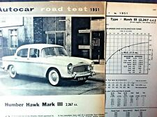 HUMBER HAWK Mark III - 1963 - Road Test removed from AUTOCAR magazine