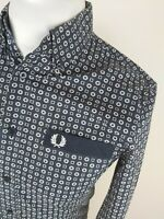 Mens Fred Perry X Drakes Shirt Blue Geometric Small 38 Chest Vgc